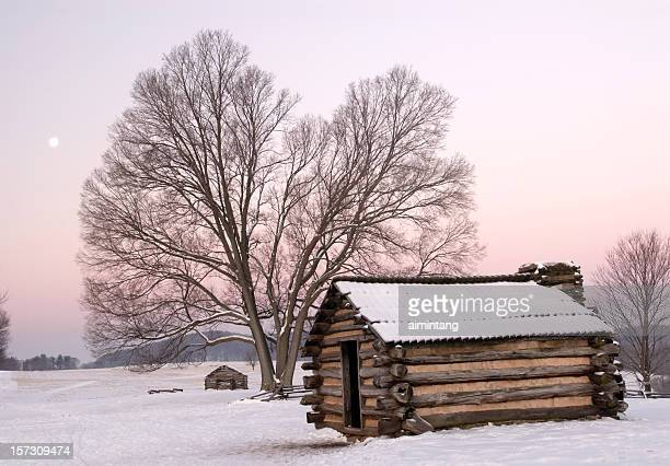 cabin, tree and moon - american troops at valley forge stock pictures, royalty-free photos & images