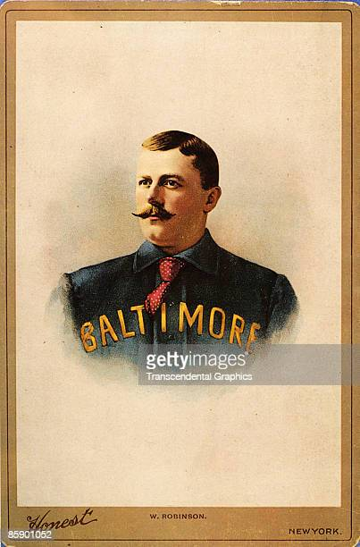 Cabinet card for Duke Premium Tobacco showing Hall of Fame baseball player Wilbert Robinson wearing his Baltimore jersey ca1890s