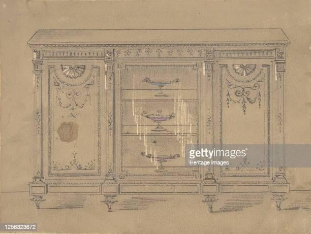 Cabinet Design with Glass Center Door 19th century Artist Anon