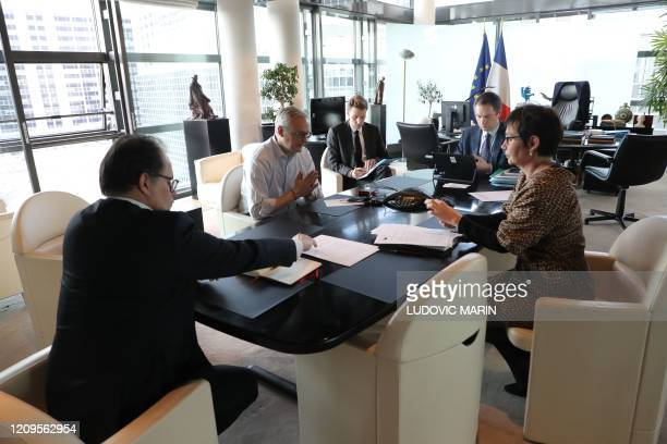 Cabinet director Emmanuel Moulin Economy minister Bruno Le Maire Advisor Charles Sitzewstuhl cabinet deputy director Thomas Revial and French...