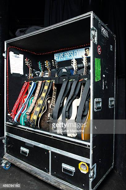 A cabinet filled with electric guitars belonging to American rock group Black Stone Cherry taken on February 28 2014