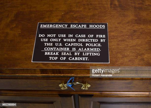 A cabinet in the Rayburn House Office Building in Washington DC contains 'emergency escape hoods' to be used in case of an emergency evaculation of...