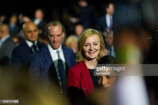 Cabinet members arrive for Boris Johnson's leader's keynote speech during the Conservative Party conference at Manchester Central Convention Complex...