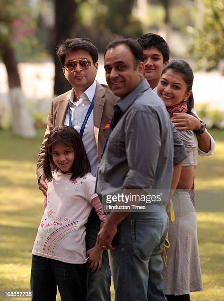 Cabinet Minister Jyotiraditya Scindia with his wife daughter and his son Aryaman Scindia having a fun moment at Doon Schools 75 years celebration at...