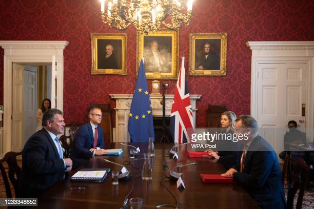 Cabinet Minister Lord Frost chairs the first meeting of the Partnership Council followed by the eighth meeting of the withdrawal agreement joint...