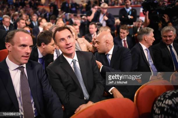 Cabinet Ministers Dominic Raab Jeremy Hunt Sajid Javid Philip Hammond and Brandon Lewis take their seats ahead of British Prime Minister Theresa...