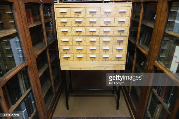 A cabinet of reference cards inside the Leeds Library on January 9 2018 in Leeds England This year sees the 250th anniversary of the oldest...