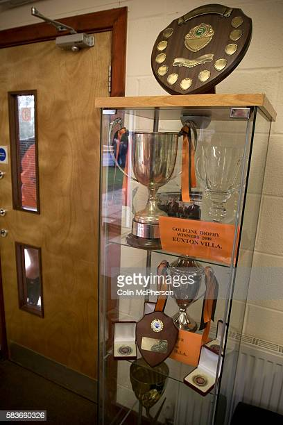 A cabinet of trophies won by Euxton Villa pictured in the clubhouse on the day the club take on visitors Haslingden St Mary's in a West Lancashire...
