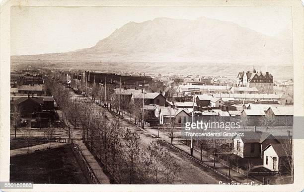 Cabinet photograph by Galbreaith Havey Lyles shows a city street probably Tejon Avenue Colorado Springs Colorado circa 1885