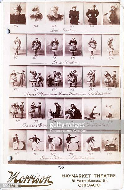 Cabinet photograph by Morrison featuring a selection of images of various comic actors Chicago Illinois circa 1880