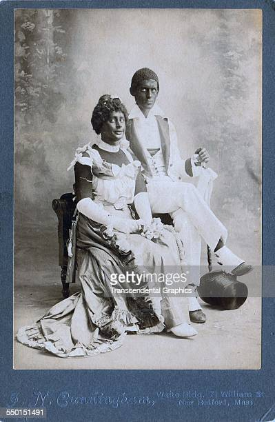 Cabinet photograph featuring a welldressed couple in racist blackface costumes New Bedford Massachusetts circa 1890