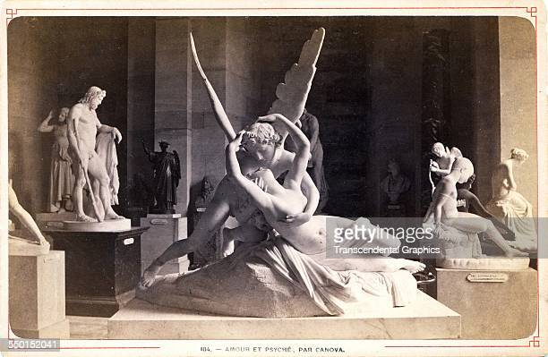 Cabinet photograph of a sculpture of the sculpture Cupid and Psyche by Antonio Canova Rome Italy circa 1880
