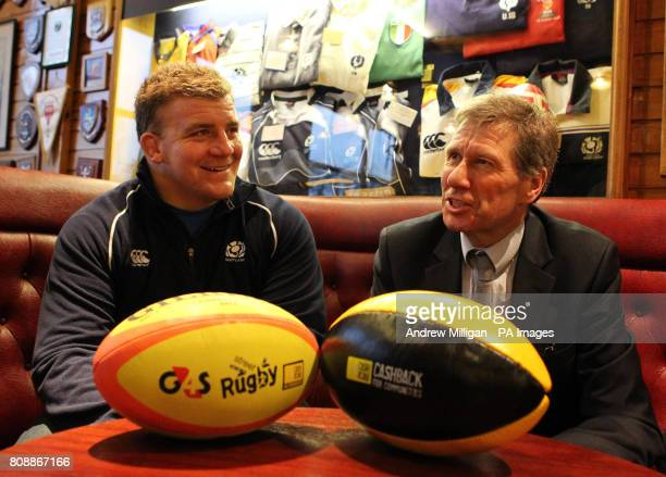 Cabinet Secretary for Justice Kenny MacAskill MSP with Scotland international Moray Low during the announcement at Musselburgh Rugby Club of a...