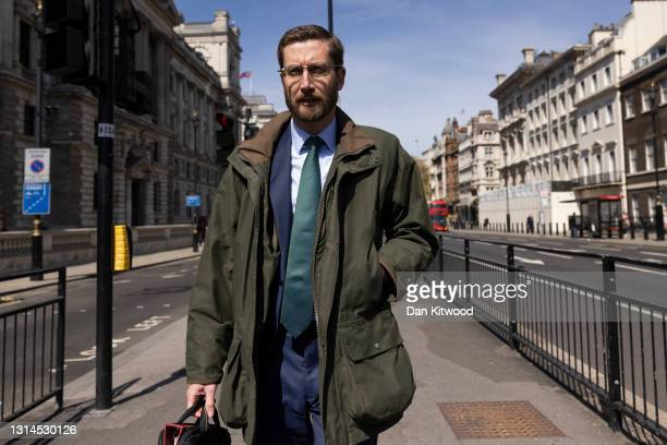 Cabinet Secretary Simon Case walks through Westminster to attend a hearing at Portcullis House on April 26, 2021 in London, England. Former senior...