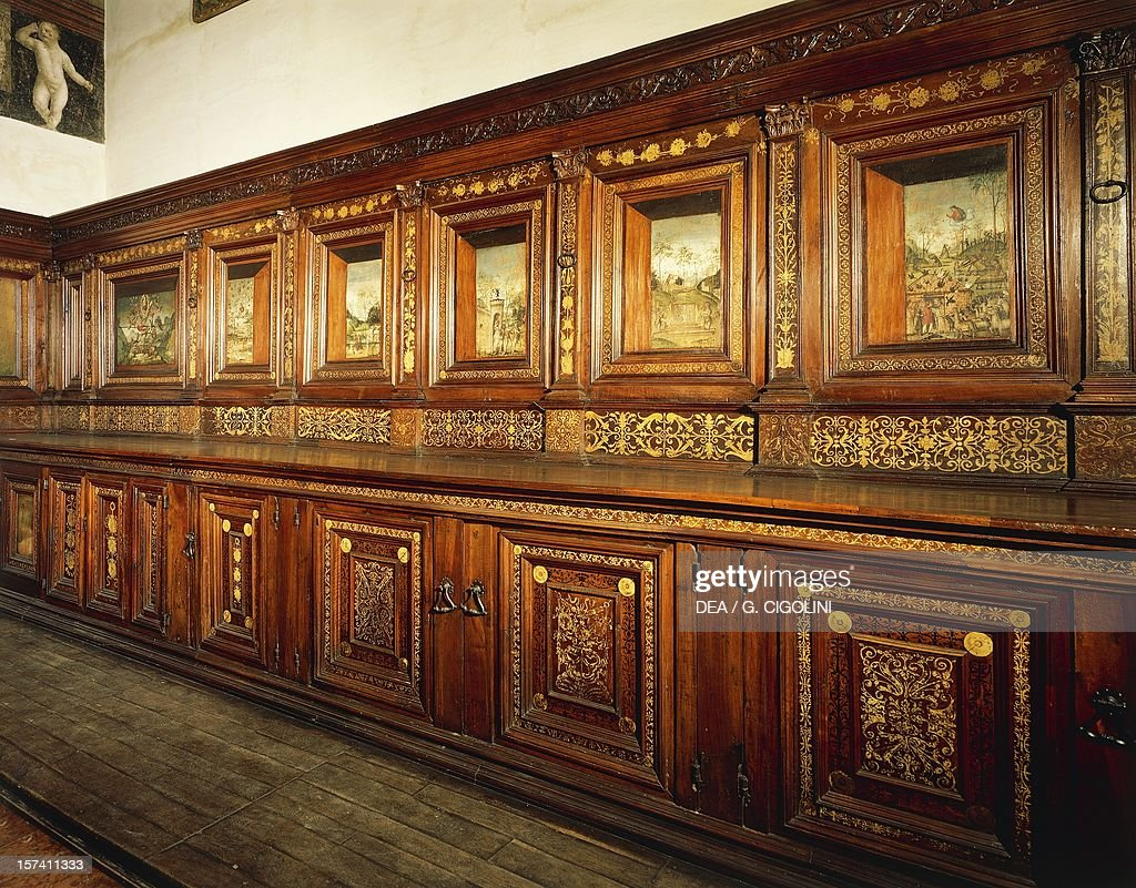 Cabinets in Old Sacristy with paintings : News Photo