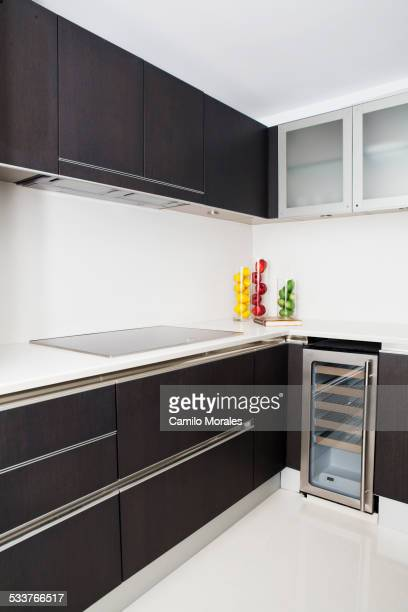 Cabinets, stove and miniature refrigerator in modern kitchen