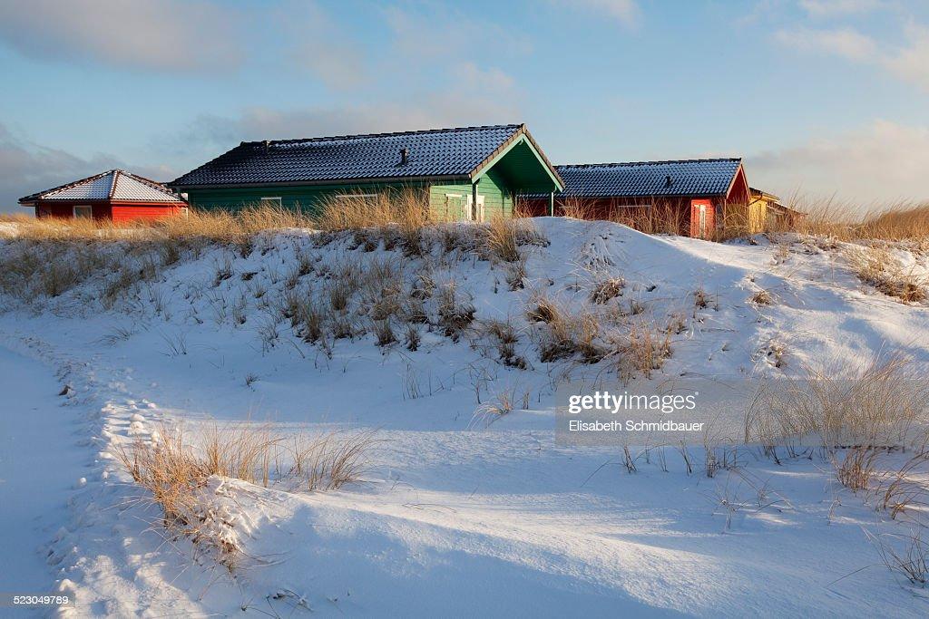 Cabins, dune, Helgoland, Schleswig-Holstein, Germany, Europe : Stock Photo
