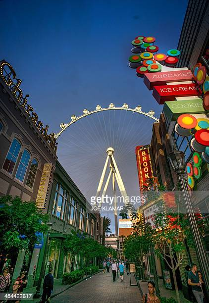 Cabins of Las Vegas High Roller observation wheel cut through the sky above Las Vegas Strip on April 11 2014 in Las Vegas Nevada Las Vegas High...