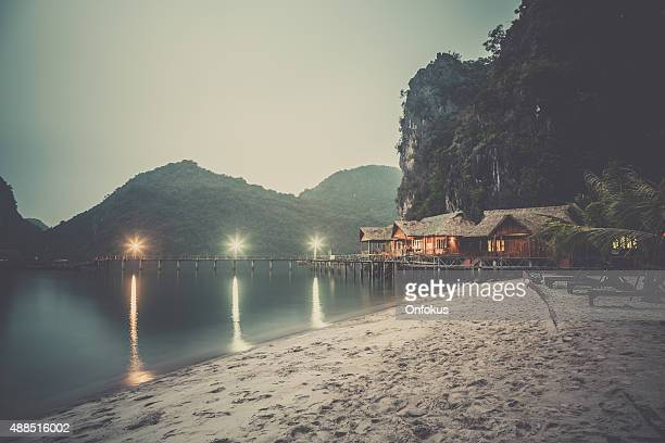 Cabins on Island in Halong Bay at Dusk, Vietnam