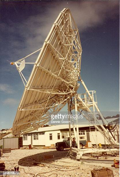 Cable & Wireless Earth Station at Stanley, close to the Governor's Residence. November 1983. This Earth Station was constructed and commisioned...