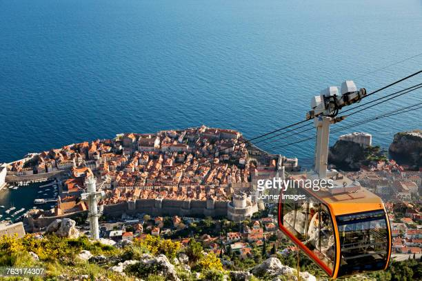 Cable car above Dubrovnik old town, Croatia