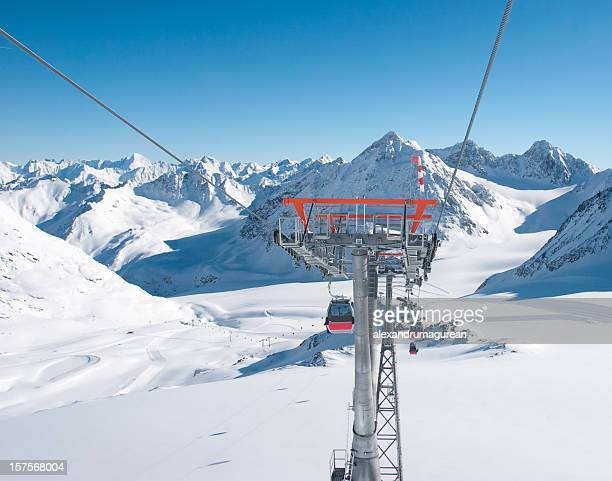 cable car against mountain landscape - ski pole stock pictures, royalty-free photos & images