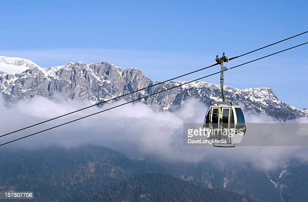 Cable Car Ascending in the Alps