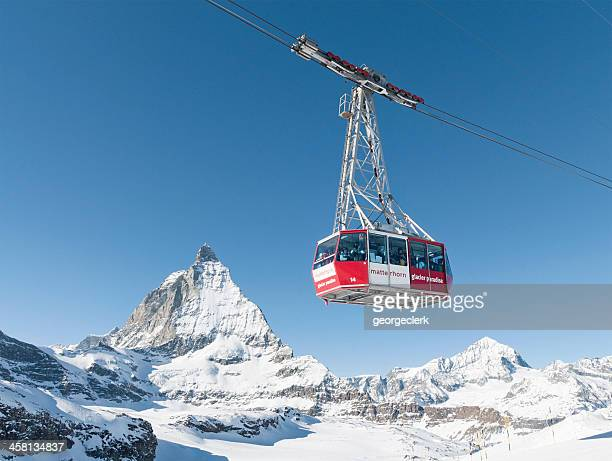 cable car at zermatt - ski lift stock pictures, royalty-free photos & images