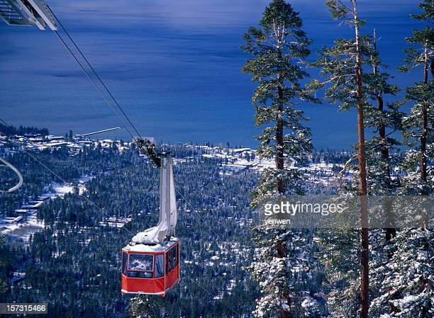 cable car climbing up - lake tahoe stock photos and pictures