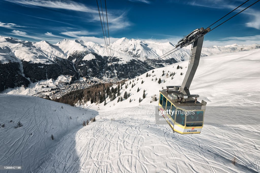Cable car from Davos up to Jakobshorn, Switzerland : Stock Photo