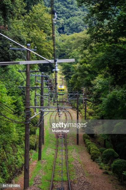 Cable car from high angel view in Mt. Takao