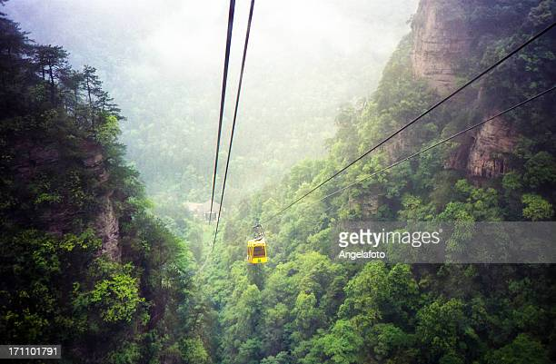 Cable Car Going Down a Mountain, China.