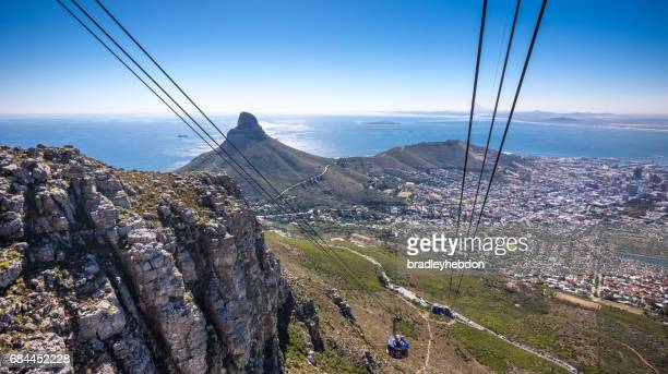 cable car going up table mountain in cape town - table mountain stock pictures, royalty-free photos & images