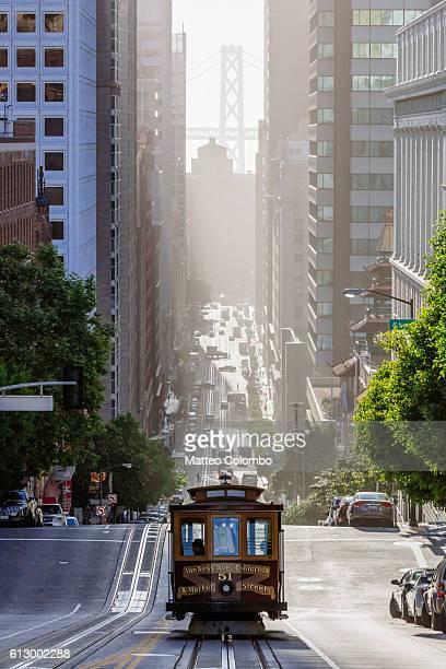 Cable car in California street, San Francisco, California, USA