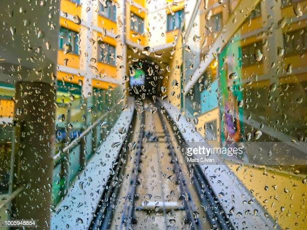Cable Car in City in a Rainy Day