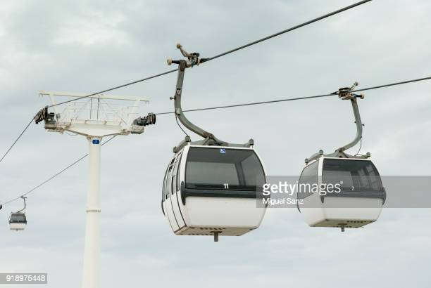 cable car in park of nations, lisbon - cable car stock pictures, royalty-free photos & images