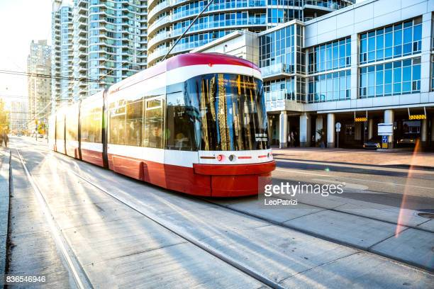Cable car in Toronto city downtown