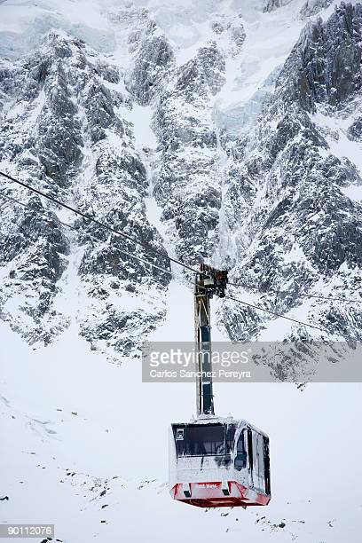 cable car in winter - aiguille de midi stock photos and pictures