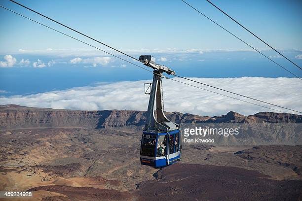 A cable car makes it's way to the summit of El Teide Volcano in Teide National Park on November 10 2014 in Tenerife Canary Island Spain At 3718...