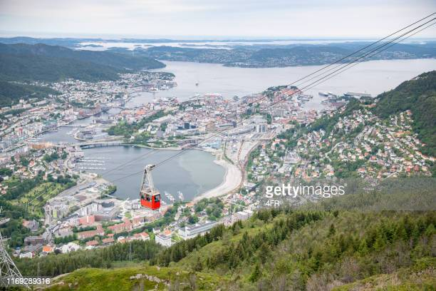 cable car, mountain ulriken, bergen, norway - hordaland county stock pictures, royalty-free photos & images