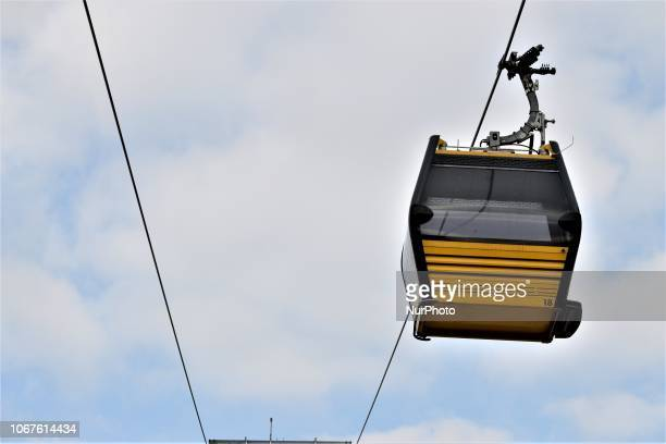 A cable car moves on the line between Yenimahalle and Sentepe districts in Ankara Turkey on December 2 2018 The cable car line between Yenimahalle...