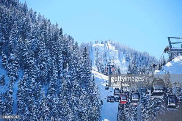 Cable car moving up over forested snow covered mountains, Aspen, Colorado, USA