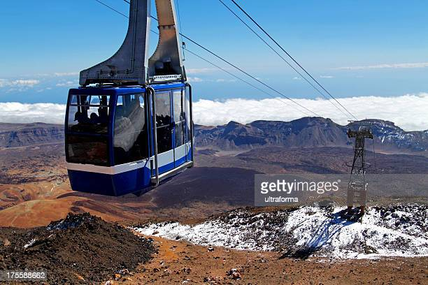 cable car on mount teide, tenerife - pico de teide stock pictures, royalty-free photos & images