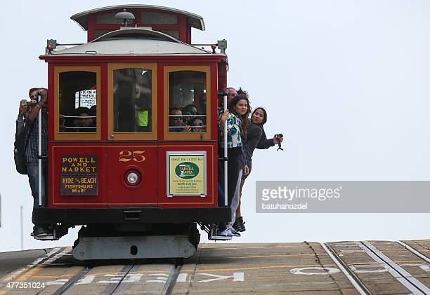 cable car on powell street in san francisco - cable car stock pictures, royalty-free photos & images