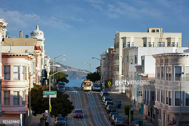 A cable Car on Russian Hill.