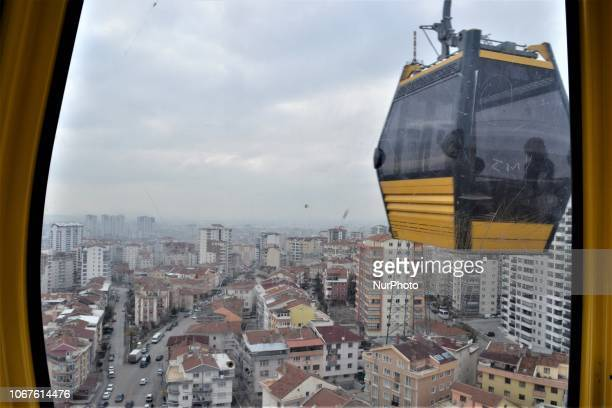 A cable car passes by during a ride on the line between Yenimahalle and Sentepe districts in Ankara Turkey on December 2 2018 The cable car line...