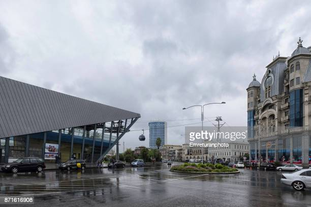 cable car station near batumi harbor on a rainy autumn day. - emreturanphoto stock pictures, royalty-free photos & images