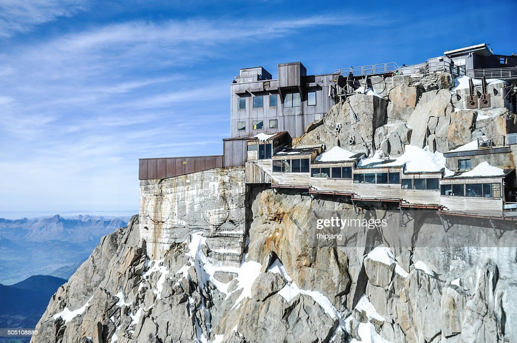 cable car station on the aiguille du midi mont blanc stock