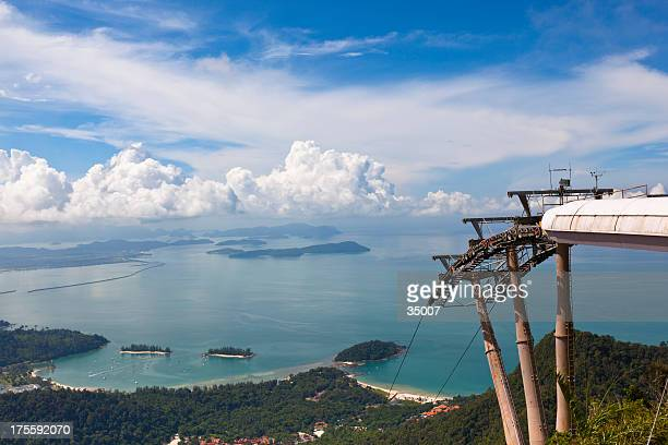 cable car station over langkawi island - elevated walkway stock pictures, royalty-free photos & images