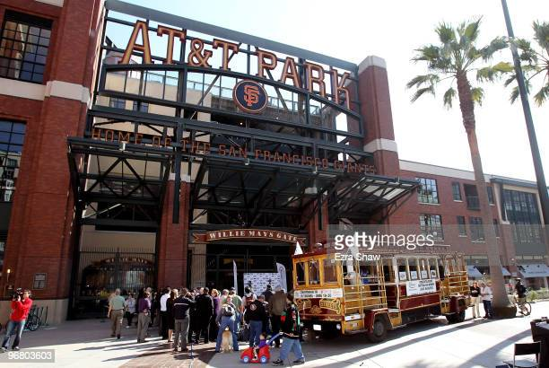 A cable car that carried Daytona 500 champion Jamie McMurray through San Francisco on his victory tour is parked at Willie Mays Plaza in front of ATT...